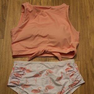 Romwe Flamingo 2 Piece Pink Swimsuit Size Small